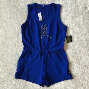Bebe Romper Cobalt Blue Lace Up Gold Chain NWT L